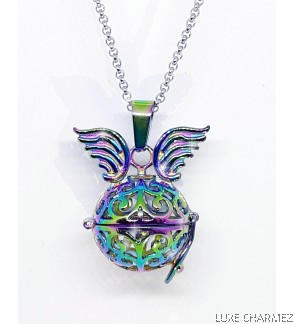 Unicorn Diffuser Necklace | Rainbow Steel Cage