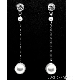 Long Shelly Pearl Earrings