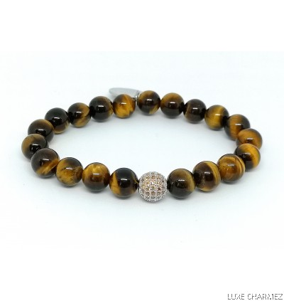 Tiger's Eye Bracelet | Sparkly Lollipop Charm