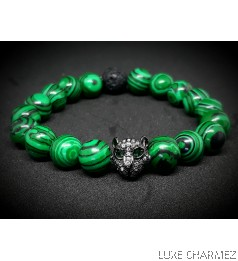 Panther Malachite Diffuser Bracelet (10mm beads)
