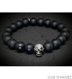 Skully Onyx Bracelet ( 10mm beads)