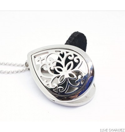 Hestia Waterdrop Diffuser Necklace | Stainless Steel Cage