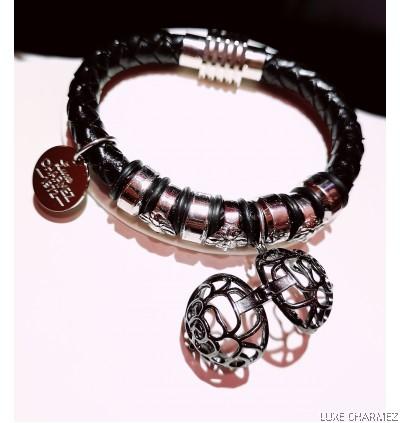 Black Infinite Diffuser Bracelet | Woven Leather Strap